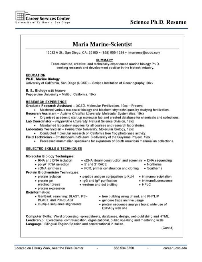 download example of the science resume for free