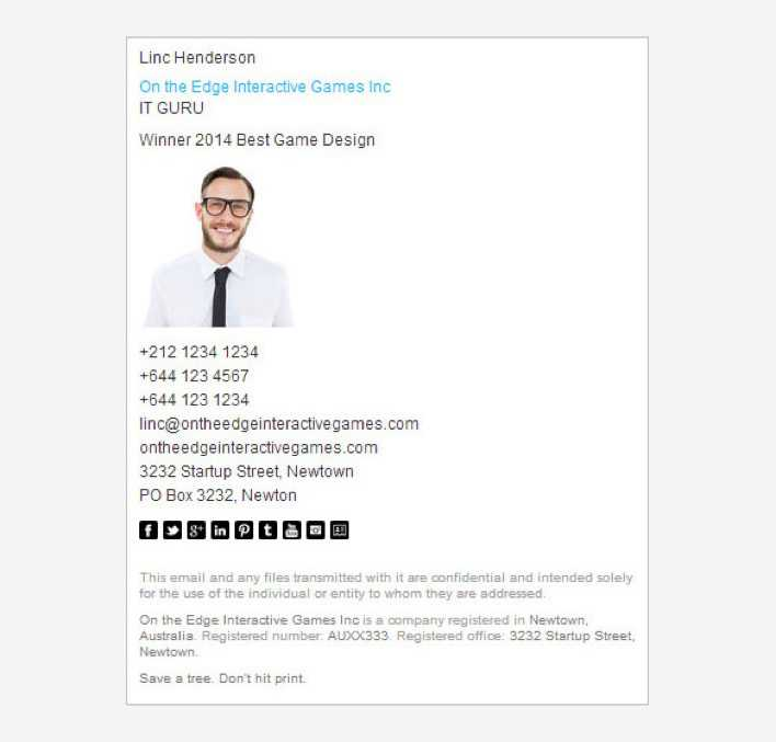 Download Example Professional Email Signature Template For Free