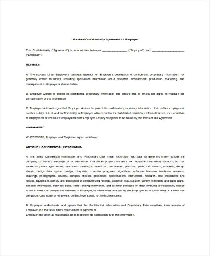 Download Example Standard Confidentiality Agreement For Employer For
