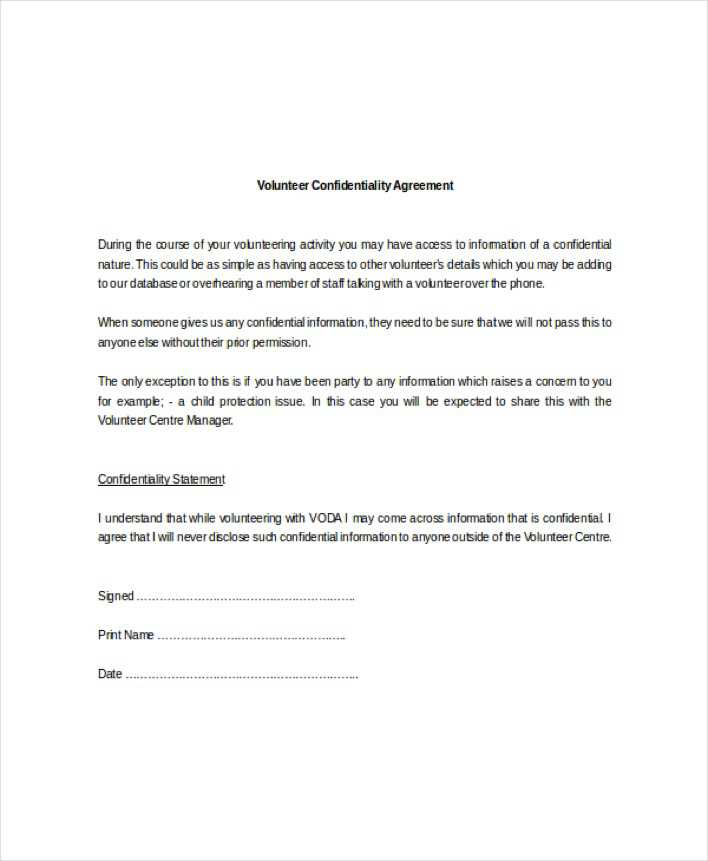Standard Confidentiality Agreement | Download Example Standard Volunteer Confidentiality Agreement For