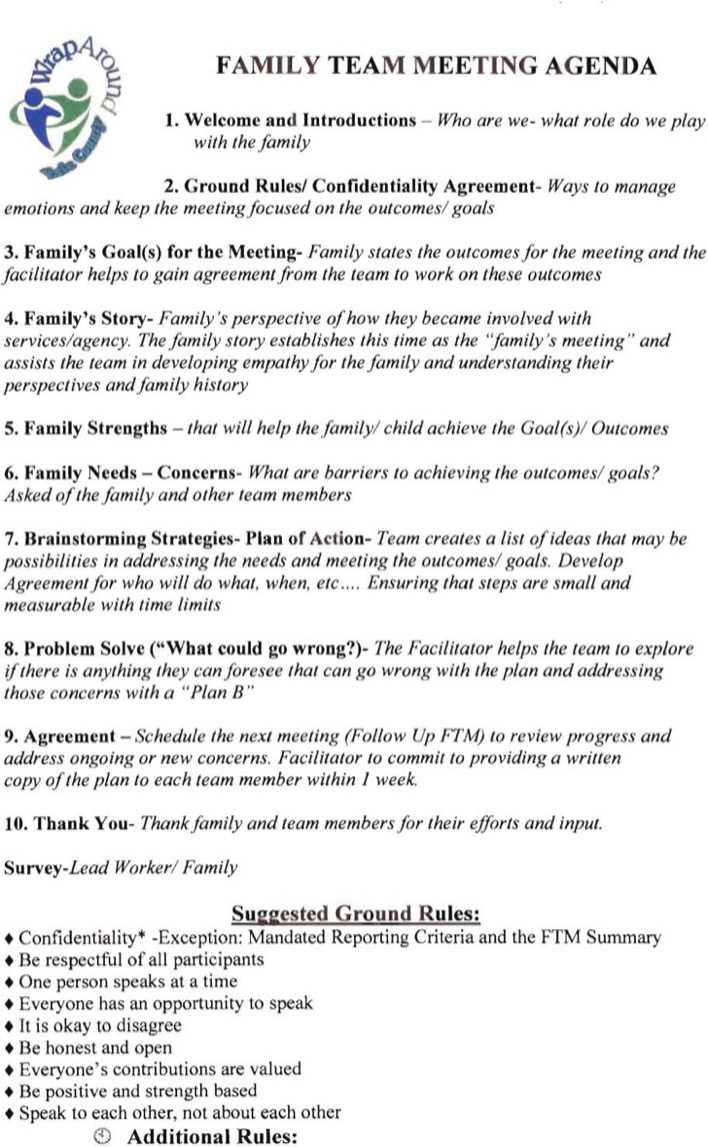 Download Example Team Family Meeting Agenda Template for Free