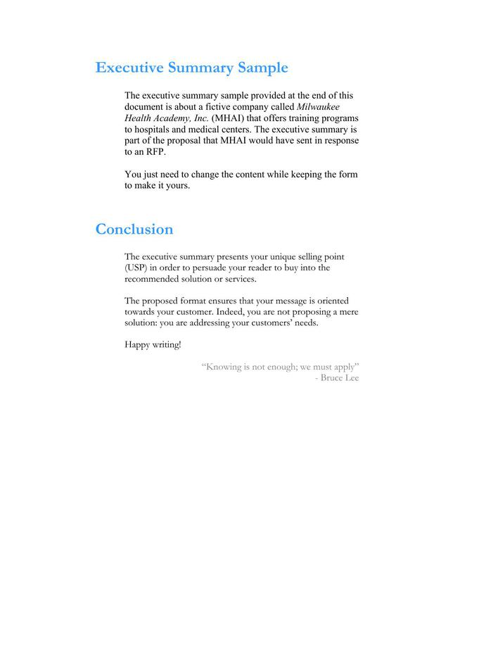 Download Executive Summary Template Example Word Format Free For