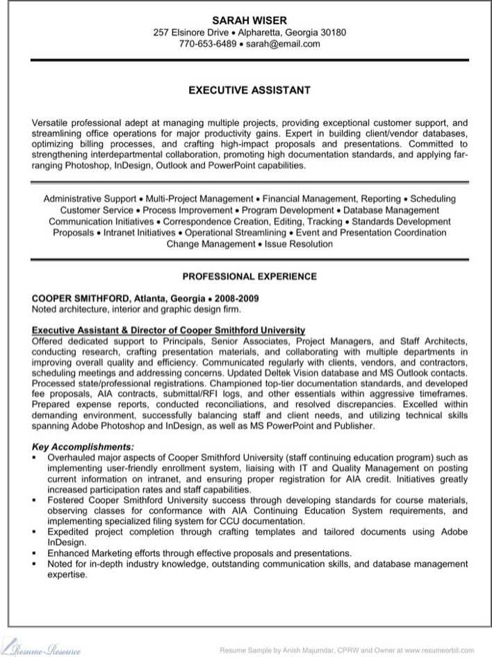 Experienced Resume Pdf Template Of Executive Administrative Assistant Page 1