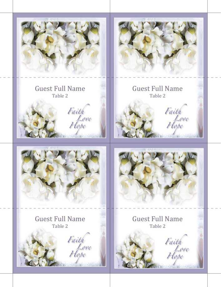 Faith Love Hope Place Cards Wedding Program Template Page 1