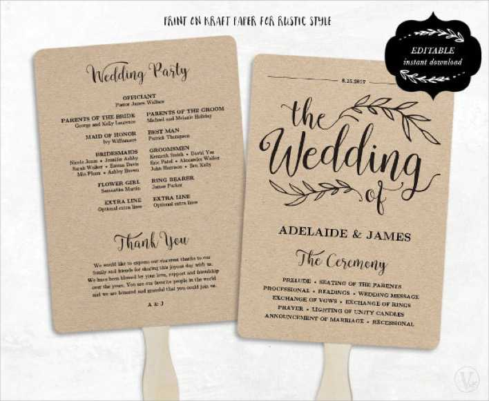 Fan Model Wedding Program Template Download Page 1