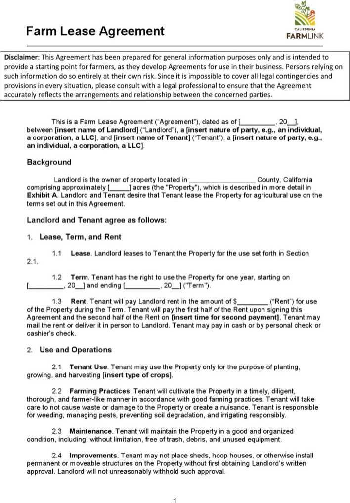 download farm land lease agreement template for free