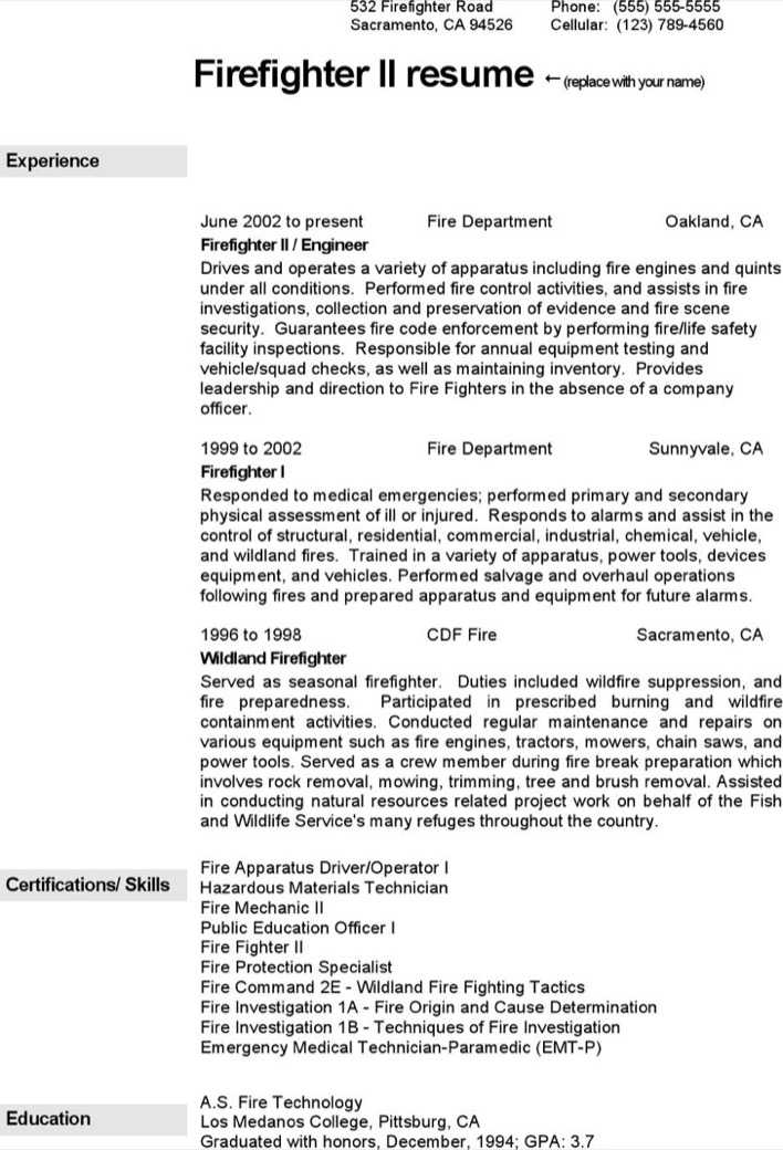 Download Firefighter Resume Template for Free - TidyTemplates