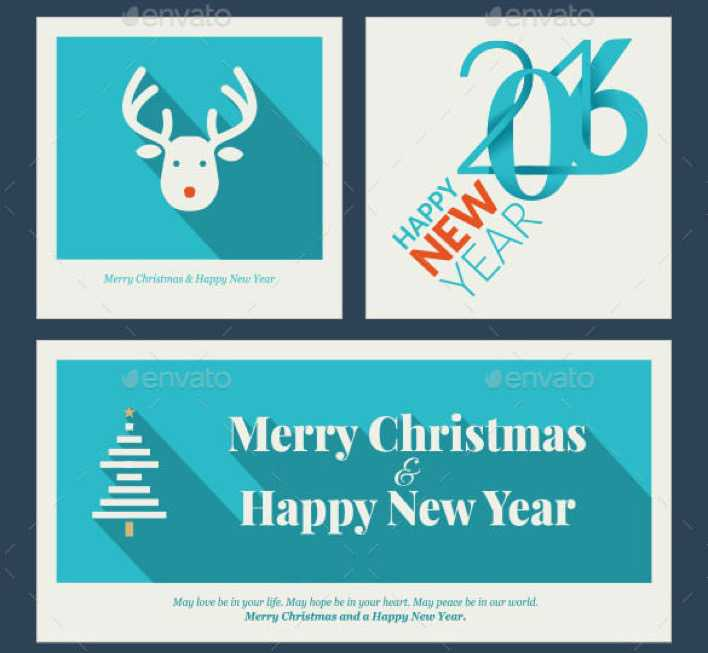 Flat Design Christmas and New Year Greeting Card Template Page 1