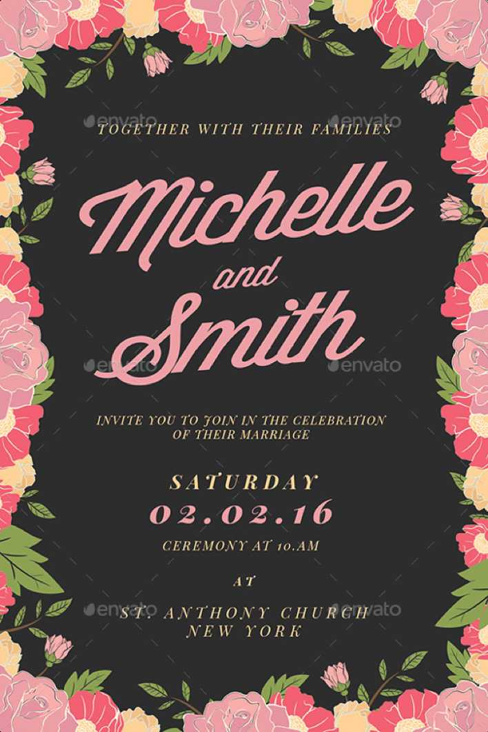 Floral Background Wedding Invitation Template For Download Page 1