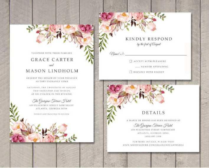 Floral Wedding Invitation Printable DIY Page 1