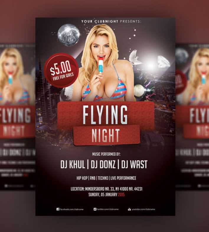 Flying Night - Christmas Flyer PSD Template Page 1