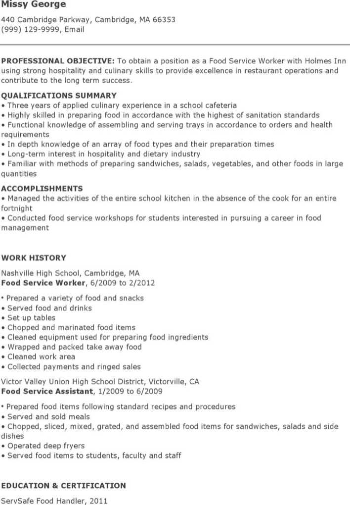 download food service worker resume for free