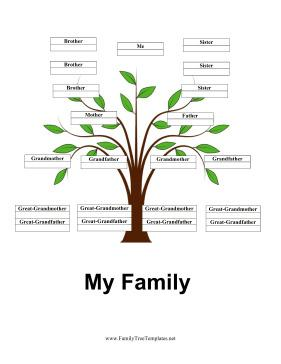Free 4 Generation Family Tree Template With Siblings Page 1