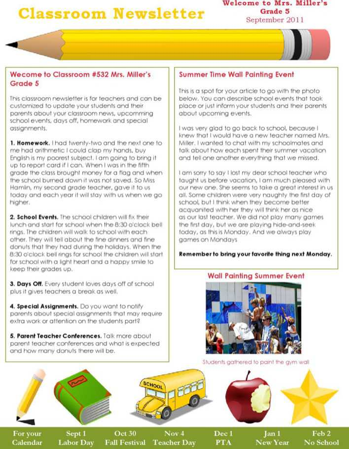 Download Free Classroom Newsletter Template Download For Free