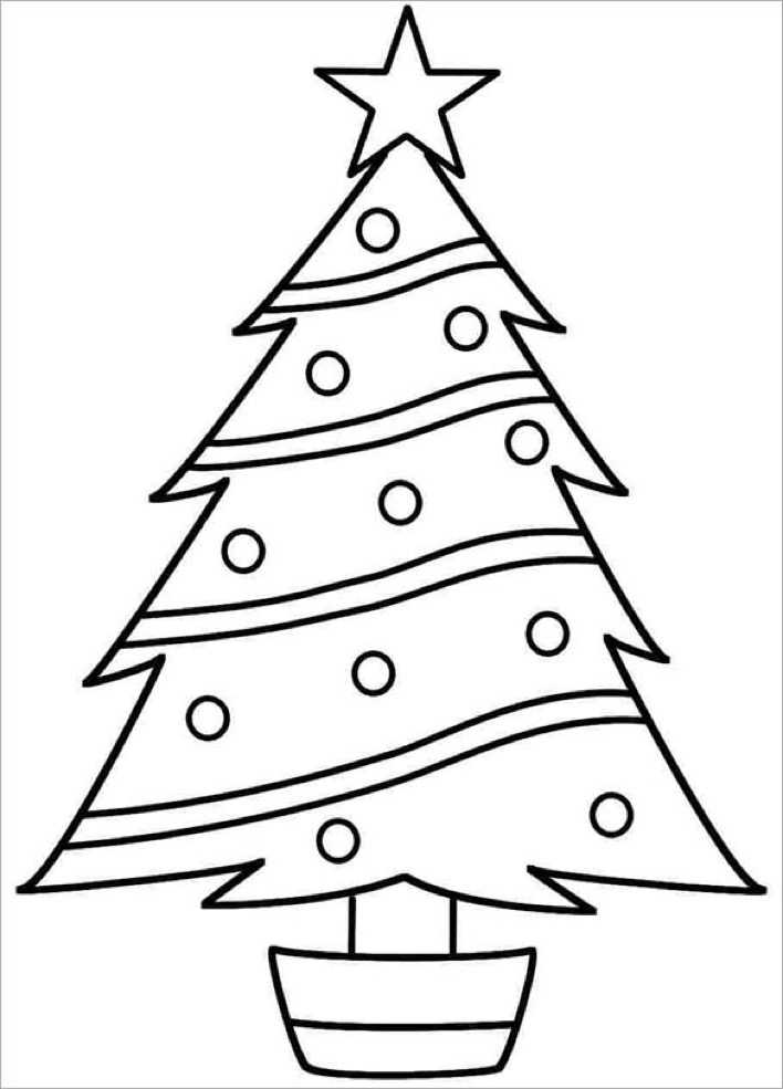 Free Download Christmas Tree Coloring Page Printable Page 1