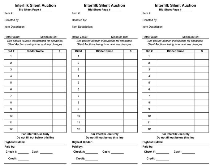 Download Free Download Pdf Format Silent Auction Bid Sheet Template