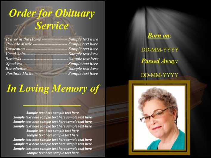 Download Free Funeral Obituary Program Template For Free Tidytemplates