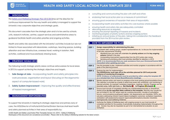 Free Health Safety Local Action Plan Word Template 2017 Page 1