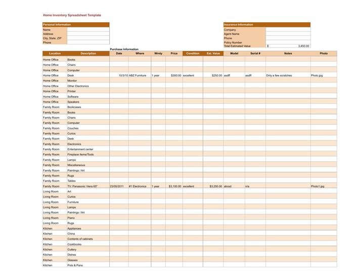 Download Free Home Inventory Spreadsheet Template For Free