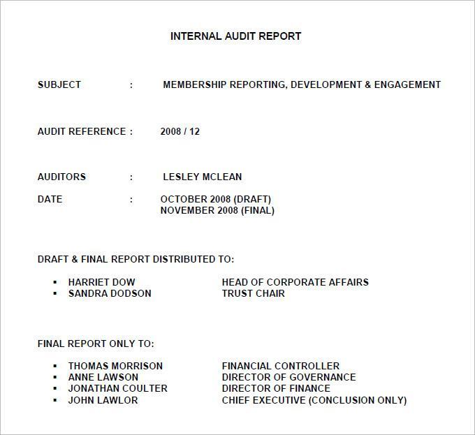 Download Free Internal Audit Report Template Pdf Download
