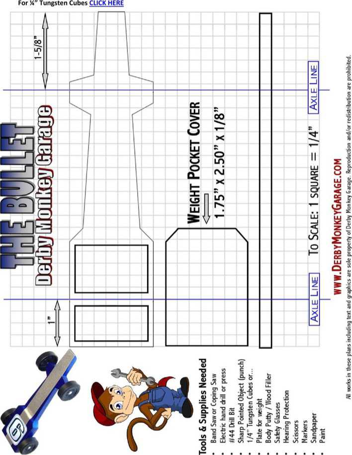 Free Pinewood Derby Bullet Car Template PDF Page 1