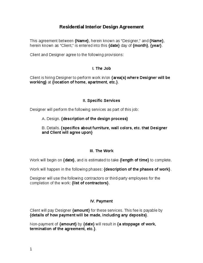 Download Free Residential Interior Designer Contract