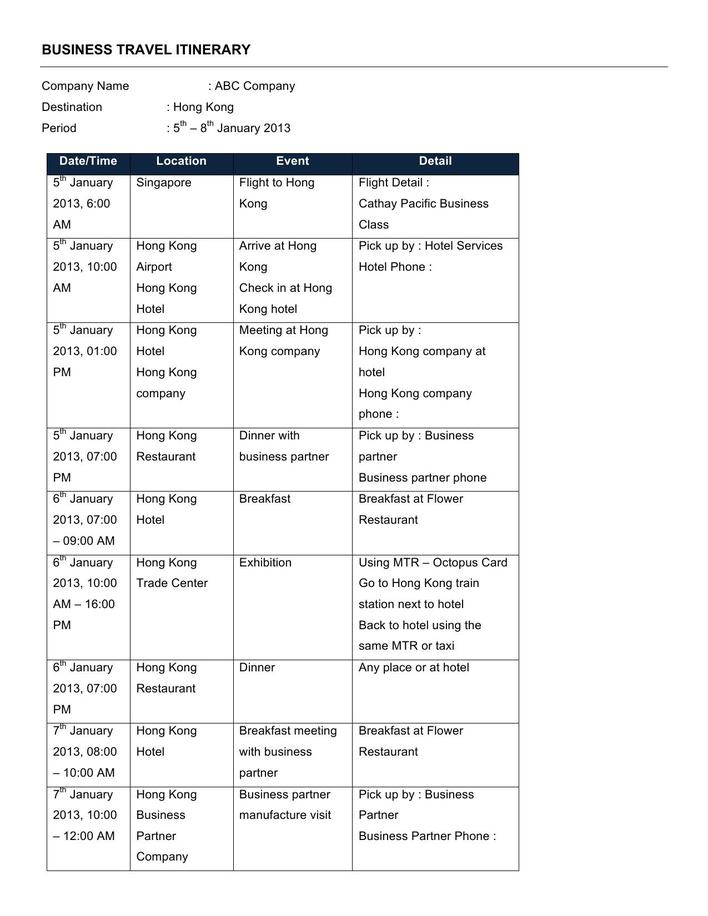 download free travel itinerary template word for free tidytemplates