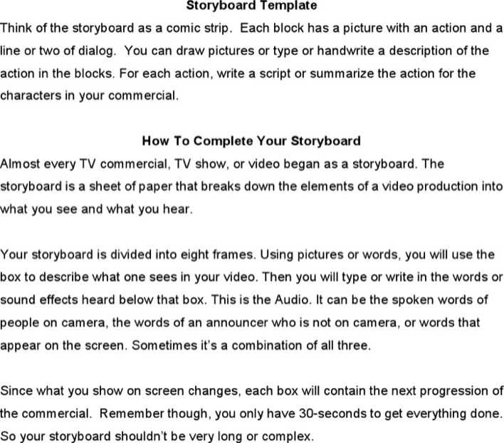 download free tv commercial storyboard template microsoft word format for free