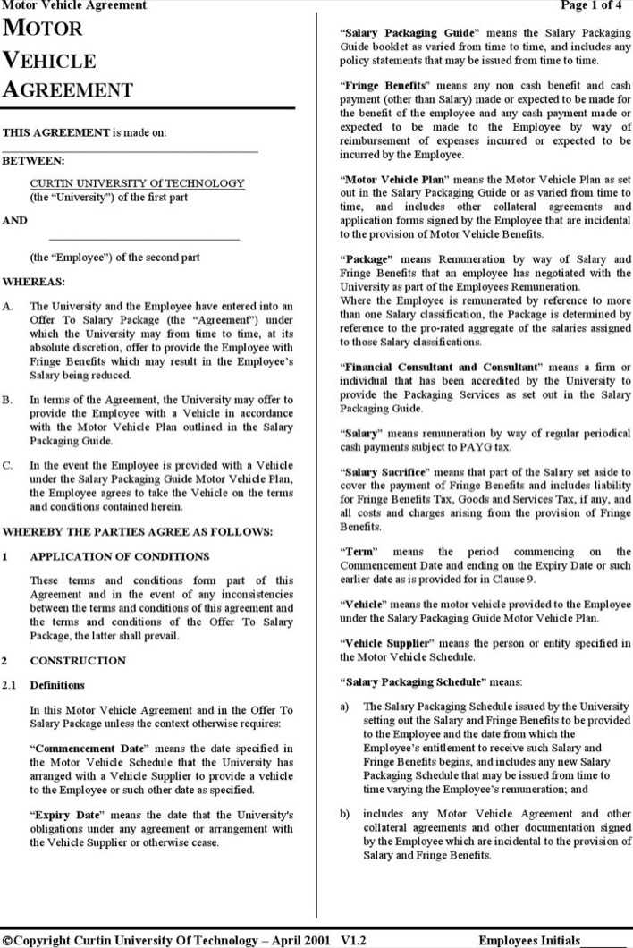 Free Vehicle Lease Agreement Template Page 1