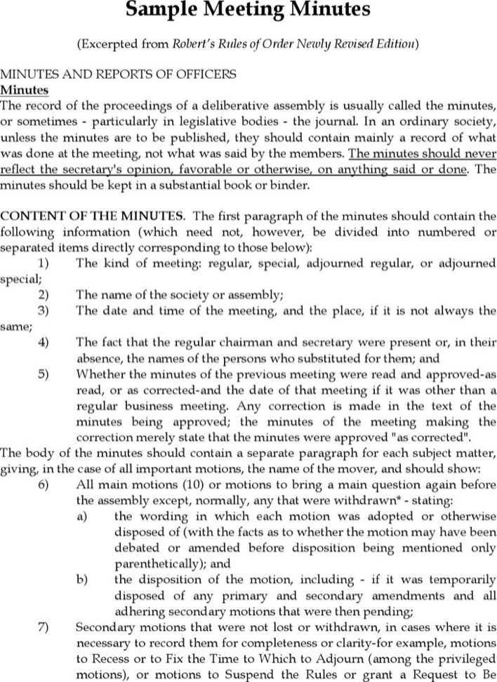 robert rules of order meeting minutes template