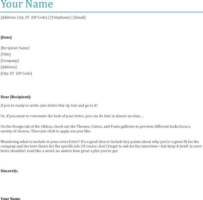 General Cover Letter Template 2 Page 1