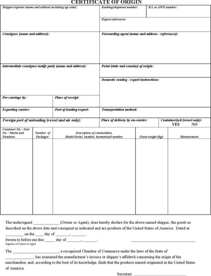 download generic certificate of origin template for free