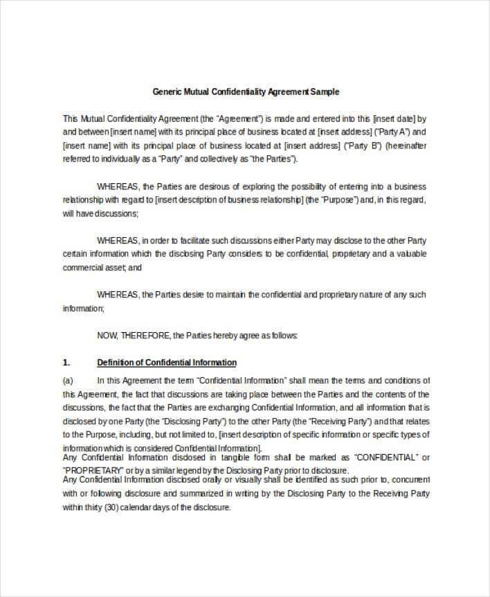 Download Generic Mutual Confidentiality Agreement Sample For Free