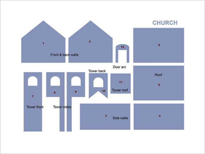 Gingerbread House Church Pattern Template Page 1