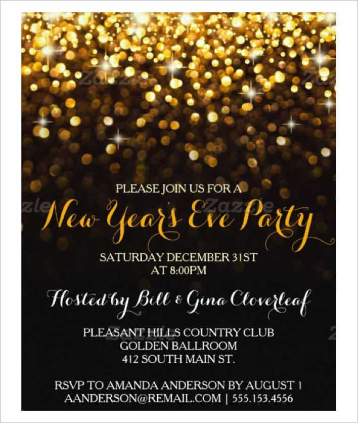 Gold Black New Year's Eve Party Invitation Template Page 1