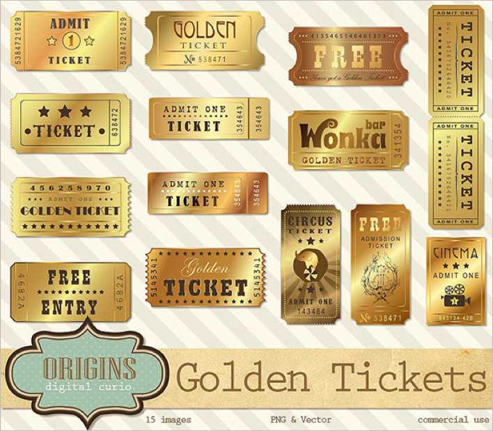 Golden Ticket Template Vector Format Page 1