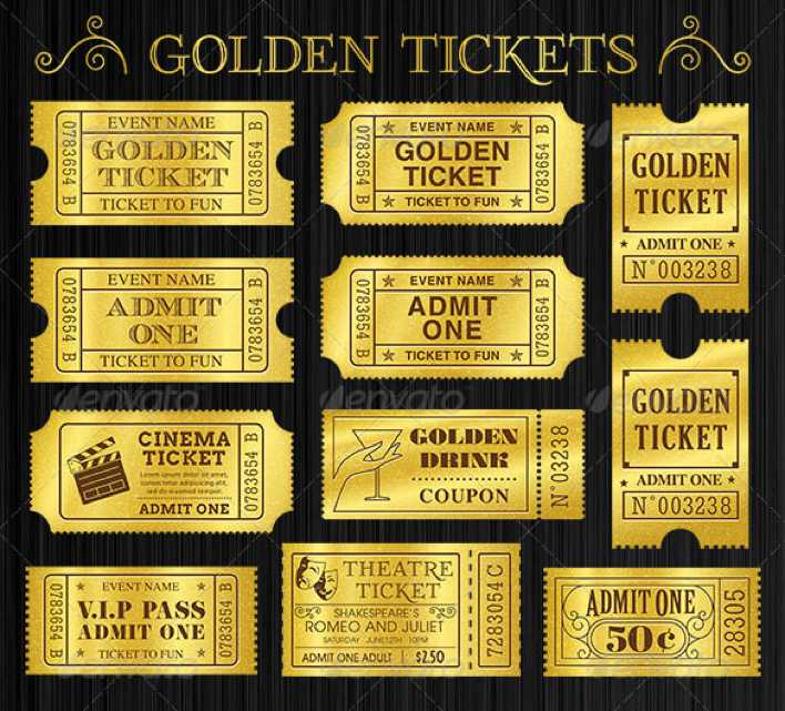 Golden Tickets Templates Set Download Page 1