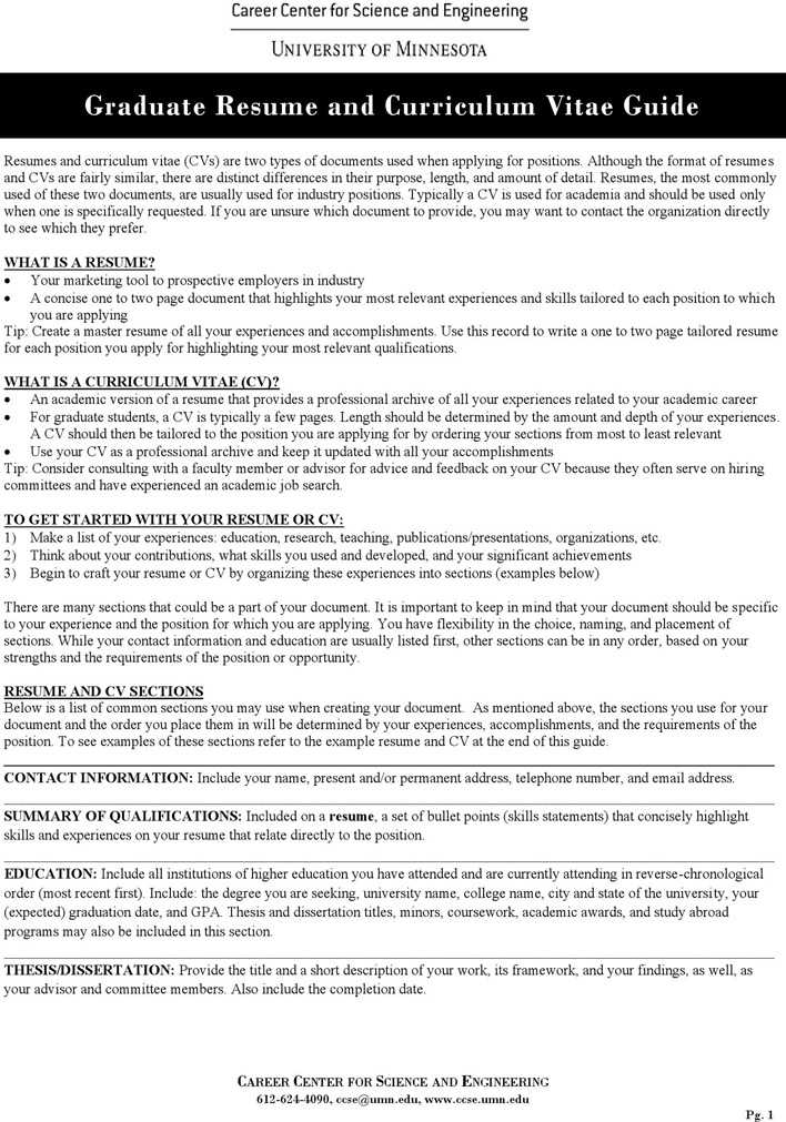 download graduate resume and curriculum vitae guide for free
