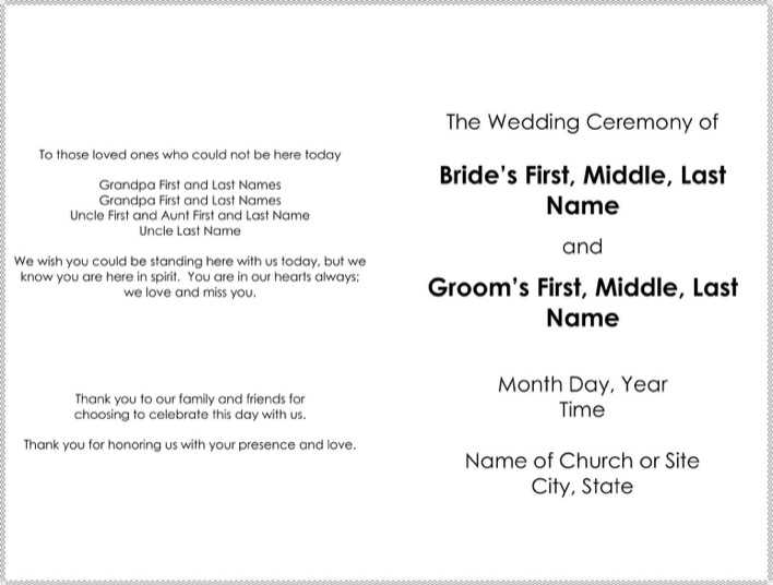 Great Officiants Free Wedding Program Template Word Format Page 1
