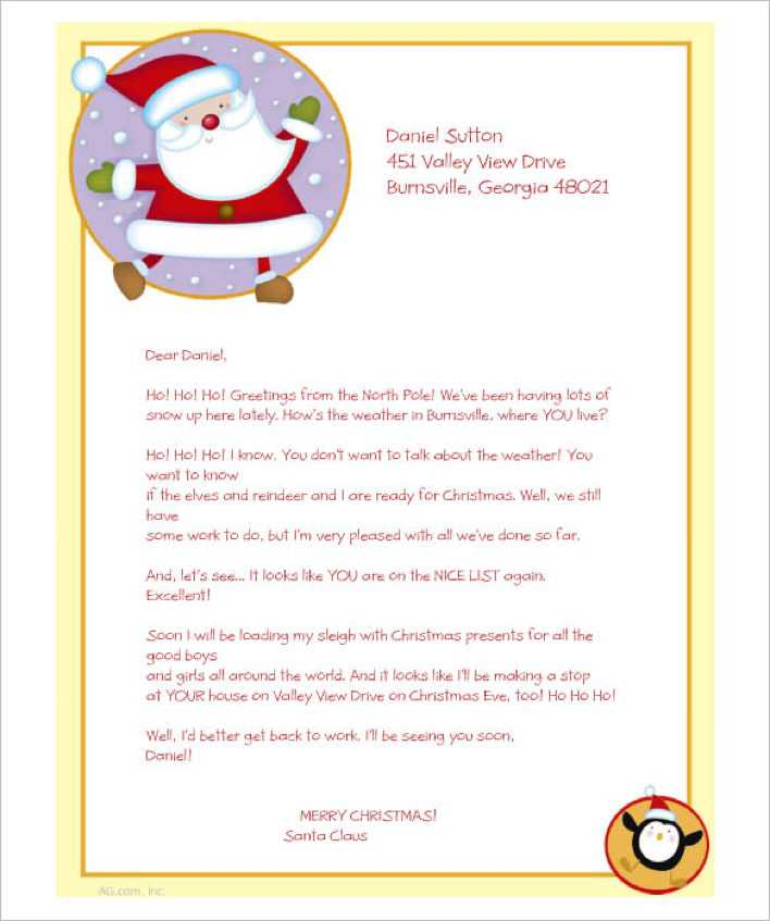 Greetings from Santa Printable Christmas Stationery Download Page 1