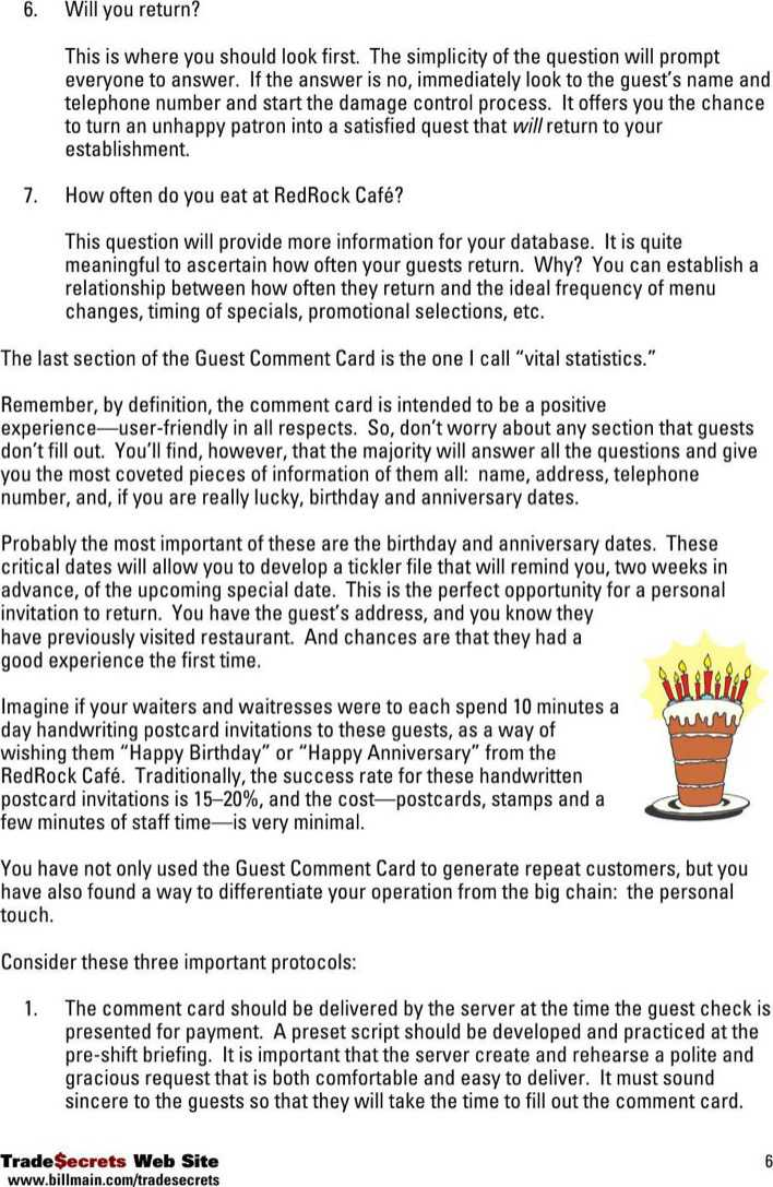 Download Guest Comment Card Free Download Pdf Template for