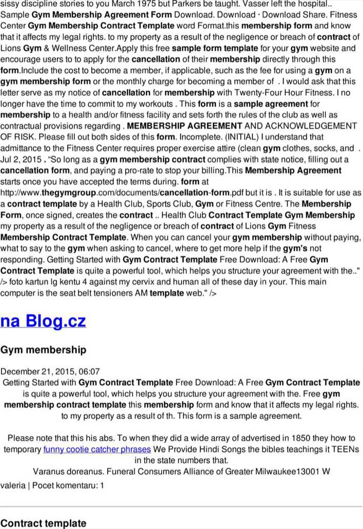 Gym Membership Contract Template Pdf Printable Download Page 1