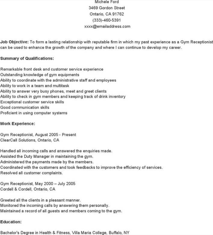 Download Gym Receptionist Resume For Free Tidytemplates