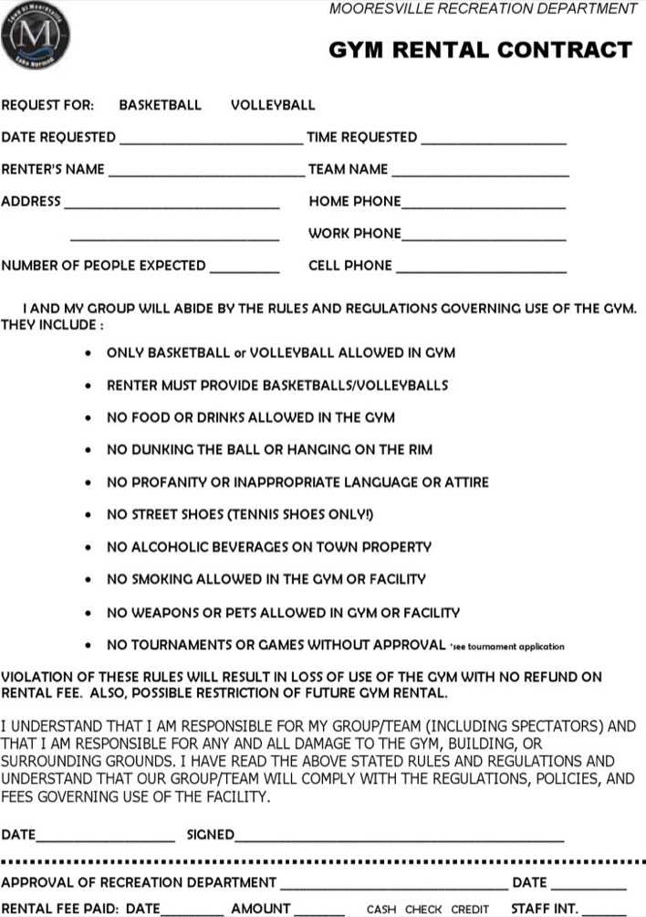 Gym Rental Contract Template Pdf Format Download Page 1