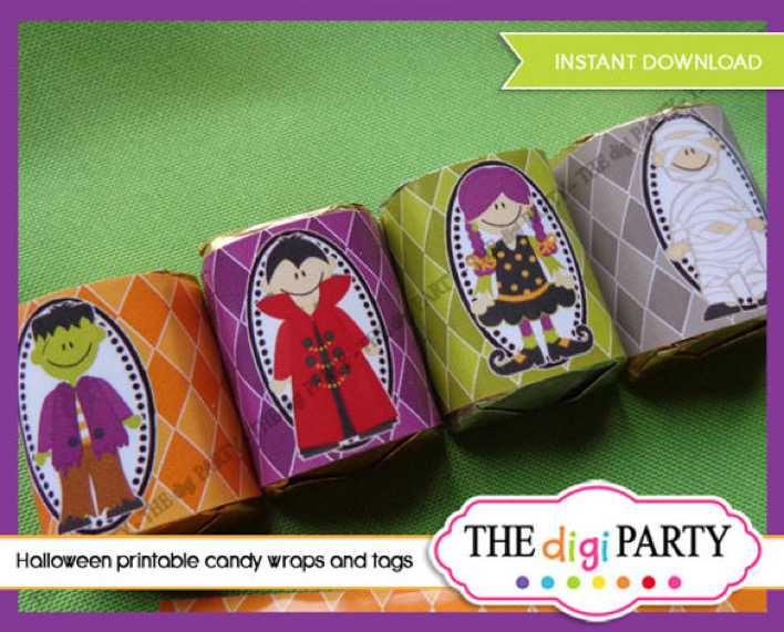 Halloween Candy Wrappers Printable PDF Digital Format Page 1