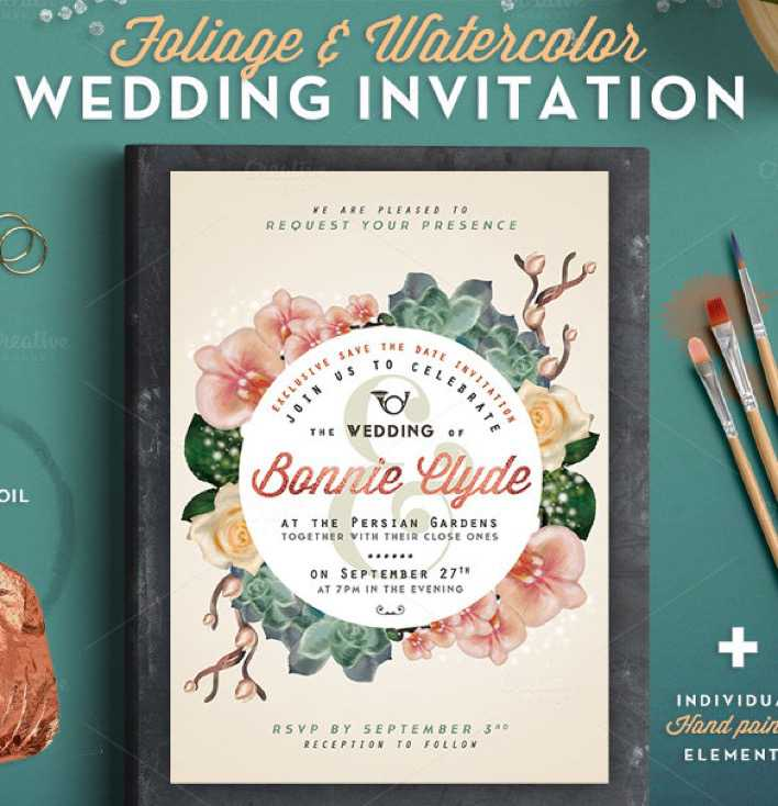 Hand Painted Wedding Invitation Template For Download Page 1