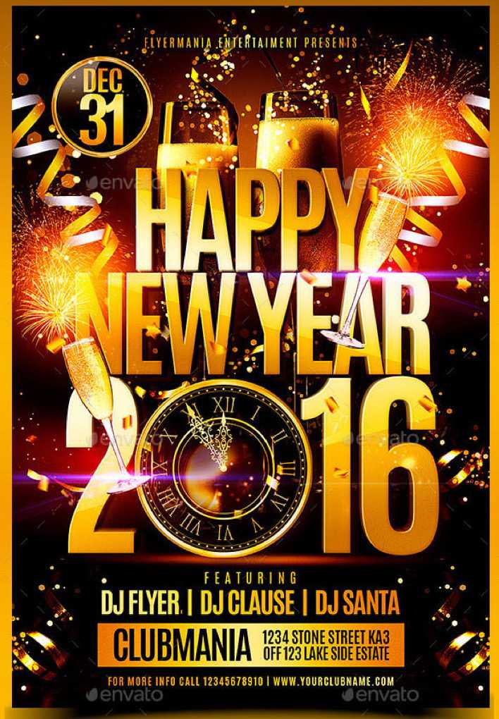 Happy New Year 2016 Flyer Template PSD Format Page 1