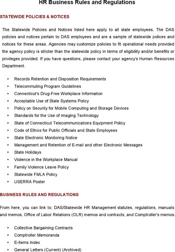 download hr business rules and regulations template for