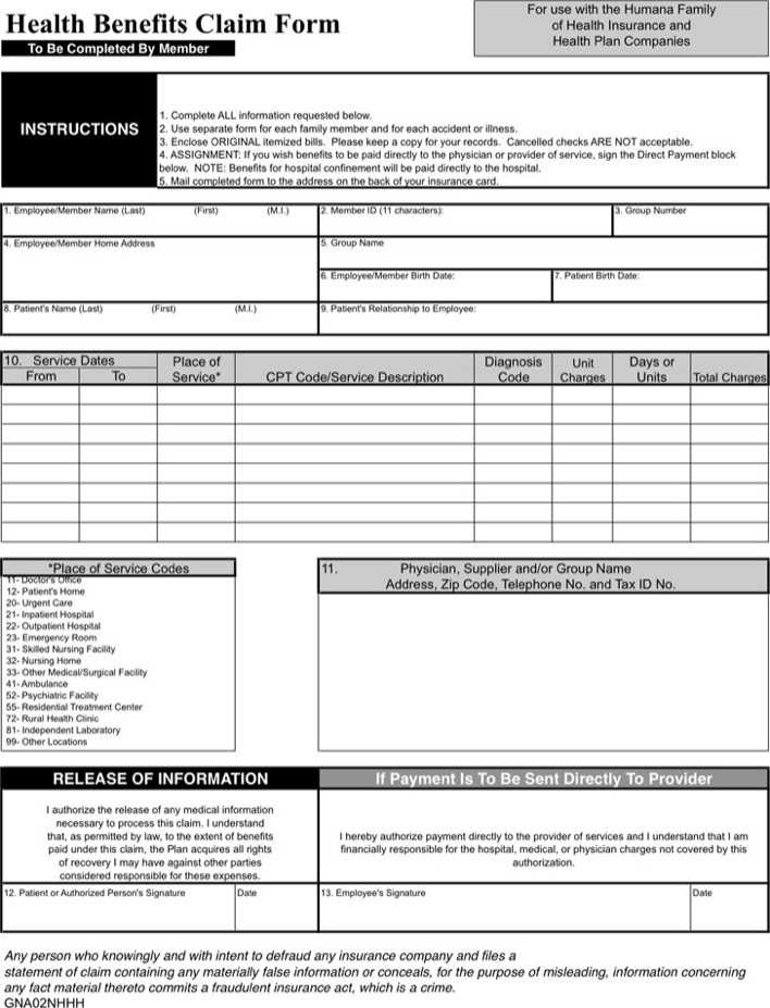 Download Humana Medical Claim Form For Free Tidytemplates