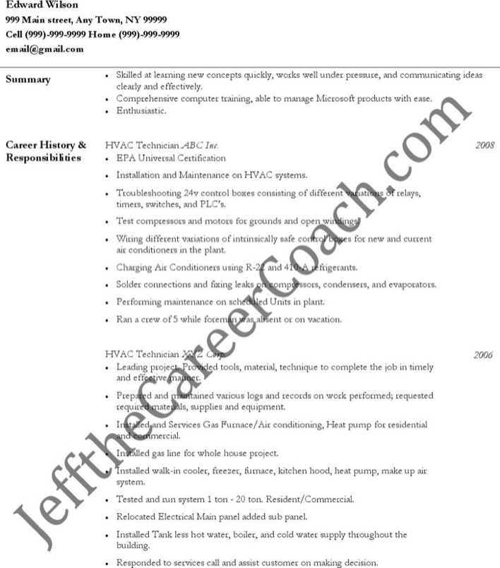 Download Hvac Technician Resume Free Pdf Template For Free